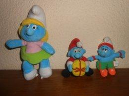 SCHTROUMPFS : 1 Schtroumpfette Peyo 2001 De 20cm + 2 Schtroumpfs MCDO 2000  DONT 1 Schtroumpf A Tirette - Cuddly Toys