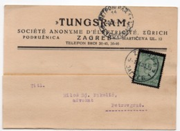 1935 YUGOSLAVIA, CROATIA, ZAGREB TO PETROVGRAD,TUNGSRAM, CORRESPONDENCE CARD - 1931-1941 Kingdom Of Yugoslavia