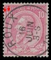 """COB N°46 - Belle Oblitération """"ROUX"""" + Défauts D'Impression - 1884-1891 Leopold II."""
