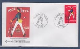 = Journée Du Timbre 1993 Enveloppe 1er Jour Paris 6.3.93 N°2792 La Distribution Du Courrier Le Facteur Et Son Vélo - Journée Du Timbre