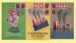 Type Blason - Foire De Paris - Lot De 3 Cartes - Marcophilie (Lettres)