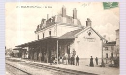 CPA Bellac (87) La Gare écrite En 1908 - Bellac