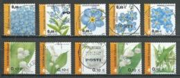 Finlande YT N°1565/1569 Et 1570/1574 Fleurs Oblitéré ° - Finlande