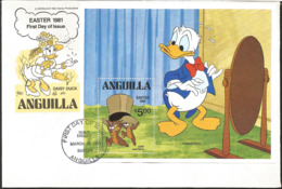 J) 1981 ANGUILLA, DAISY, DONALD, CHIP AND DALE, MULTIPLE STAMPS, FDC - Anguilla (1968-...)