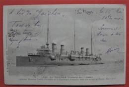 """"""" GUICHEN """" CROISEUR DE 1° CLASSE LOUBET EN RUSSIE 1902 - Bateau Guerre Dos Simple - Guerra"""