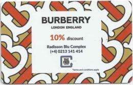 ROMANIA  KEY  HOTEL  Radisson BLU Hotel Bucharest - BLU App For You - Burberry - Hotelkarten