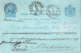 PK  S'Gravenhage - Stockholm (retourniert)            1894 - Postal Stationery
