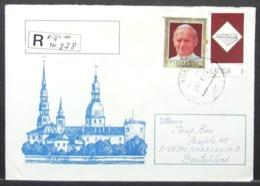 Latvija - Registered Stationery Cover To Germany 1993 Pope - Papas