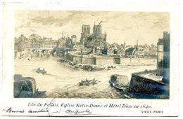 75004 PARIS - Photo D'une Gravure - Isle Du Palais, Notre-Dame, Hôtel Dieu En 1640 - 1903 - District 04