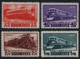 Russia / Sowjetunion 1949 - Mi-Nr. 1414-1417 ** - MNH - Schienenfahrzeuge (III) - 1923-1991 UdSSR