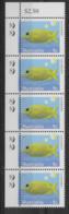 2010 5x 5c Coral Rabbit Fish - 2 Koala Reprint MUH Top Right Corner Strip - Nuovi