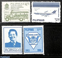 Philippines 1987 Overprints 4v, (Mint NH), Transport - Automobiles - Aircraft & Aviation - Airplanes