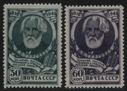 Russia / Sowjetunion 1943 - Mi-Nr. 883-884 ** - MNH - Turgenjew (I) - Ungebraucht