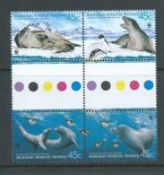 Australian Antarctic Territory 2001 Leopard Seals WWF Set 4 In Gutter Block Se Tenant MNH - Territoire Antarctique Australien (AAT)