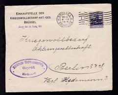 Germania 20 Pfg. Mit Aufdruck Belgien 25 Centimes Auf Briefvorderseite  - Occupation 1914-18