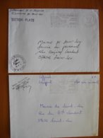 Réunion : Deux Lettres En Franchise Avec Cachets Administratifs De Saint-Leu  Et Cachet De La Petite Localité Du Plate - Isola Di Rèunion (1852-1975)