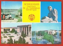 TURKMENISTAN JUMHURIYATI- ACHKHABAD -Capitale De La Turkménie Soviètique-Multivues -Recto Verso - Turkménistan