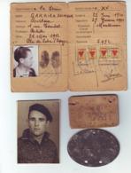 Déporté (plaques Stalag + Photo + Carte) - Militaria