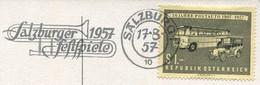 Austria 1957 Postcard POST-BUS Österreich Postauto Car Auto Salzburg Festspiele Music Slogan Pmk Werbestempel Trumpet - Busses