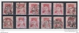 GIAPPONE:  1953  DEA  KANNON  -  30 Y. BRUNO-ROSSO  US. -  RIPETUTO  12  VOLTE  -  YV/TELL. 535 - 1926-89 Imperatore Hirohito (Periodo Showa)