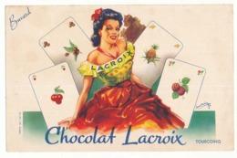 Buvard 20,9 X 13,4 Chocolat LACROIX Tourcoing Cartes à Jouer Gitane  Illustrateur Davrain - Chocolat