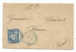 SAGE 15C LETTRE CONVOYEUR BLEU LODEVE A PAULHAN 1893 HERAULT - Marcofilie (Brieven)
