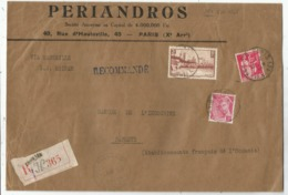 N°391+370+406 LETTRE REC PARIS 1939 POUR PAPEETE TAHIT VIA SS ERIDAN TARIF RARE - Postmark Collection (Covers)