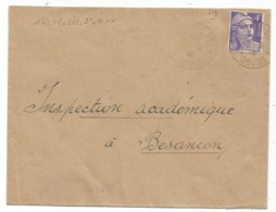 GANDON 4FR VIOLET SEUL LETTRE BESANCON 1946 AU TARIF TARIF 2EME - Postmark Collection (Covers)