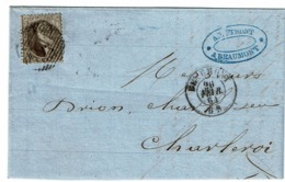 14A Lettre  Obl  14 Beaumont (+8)  Vers Charleroi, Verso Charleroi - 1863-1864 Medaillen (13/16)