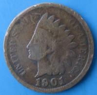 ÉTATS-UNIS D'AMÉRIQUE, 1 Cent Tête D'indien,1901, TB - Federal Issues