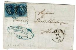 2 X 15 (TB)  Frgt Facture  Obl  62 Huy Vers Hasselt  Verso Hasselt - 1863-1864 Medaillen (13/16)