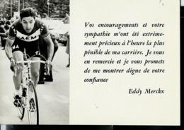 Carte De Remerciements  D' Eddy MERCKX  (dos Vierge Et Blanc) - Cyclisme