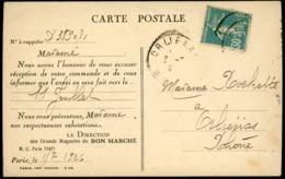 1926 N° 192 C, ROULETTE Du 30 Ct Bleu Type II C Semeuse Camée (timbre Rare Cotant Détaché 46 €) Sur CP Du Bon Marché - 1906-38 Semeuse Con Cameo