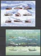 S063 !!! IMPERFORATE GHANA SHIPS OCEAN LINERS & WAR VESSELS OF THE WORLD 2KB MNH - Ships