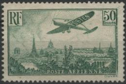 """Poste Aérienne N° 14, 50F Vert Jaune """"avion Survolant Paris"""". Neuf Sans Gomme (*) MNG - Airmail"""