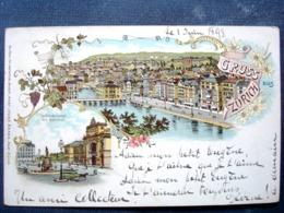 Suisse ,  Gruss Aus Zürich De 1898.....timbres Et Cachets Au Verso - Schweiz