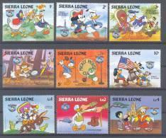 Nfe963 WALT DISNEY DONALD GOOFY MICKEY FLAG TOKYO BIRDS CHICKEN LIGHTHOUSE CACTUS DONKEY SIERRA  LEONE 1984 PF/MNH - Disney