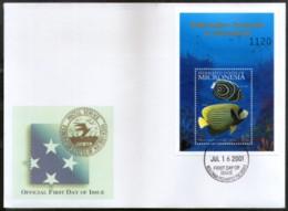 Micronesia 2001 Under Water Fishes Marine Life Animals Sc 447 M/s On FDC # 9486 - Marine Life
