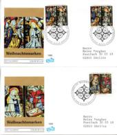 "BRD 2 Schmuck-FDC ""Weihnachten 1995"", Mi.2x1831+1832 ESSt 9.11.1995 BONN 1 - FDC: Covers"