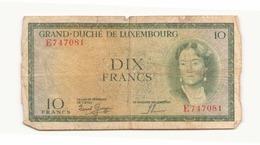 Grand-duché Du Luxembourg Billet De 10 Francs - Luxemburg