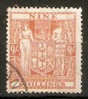 NEW ZEALAND 1931 - 1940 9s SG F154 FINE USED Cat £29 - Postal Fiscal Stamps