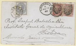 PORTUGAL. 1880. London To Lisbon, Readdressed To Meirinha Grande. Colour Illustrated Envelope (on Reverse) Franked G.B. - Portugal