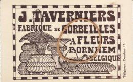 Bornhem - J.Taverniers - Fabrique De Corbeilles A Fleurs - Tel. 13 - Reclame Kaart - Bornem