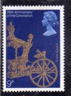 GREAT BRITAIN GRAN BRETAGNA 1978 CORONATION OF QUEEN ELIZABETH II 25th ANNIVERSARY 9p MNH - Nuovi