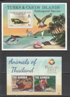 Y796 1979,2013 TURKS & CAICOS IS. GAMBIA ENDANGERED SPECIES BIRDS MARINE LIFE ANIMALS OF THAILAND 2BL MNH - Stamps
