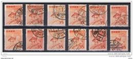 GIAPPONE:  1952  PESCE  ROSSO  -  35 Y. ROSSO-ARANCIO  US. -  RIPETUTO  12  VOLTE  -  YV/TELL. 509 - 1926-89 Imperatore Hirohito (Periodo Showa)
