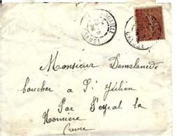 LETTRE  COURRIER DE 1928 LA NOUAILLE CREUSE - Lettres & Documents