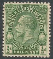 Turks & Caicos Islands. 1928 KGV. ½d MH. SG 176 - Turks And Caicos
