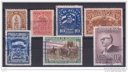 HONDURAS:  1922/59  DIVERSI  -  7  VAL. US. -  YV/TELL. VARI - Honduras