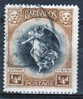 Barbados 1920 George V Single One Farthing Stamp From The Winged Victory Series. - Barbados (...-1966)